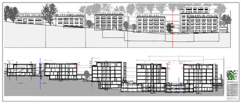 Die fünf Gebäude werden in gestaffelter Hanglage realisiert.