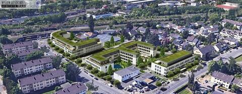 Vogelperspektive der drei Bürogebäude für die KPE Projektentwicklung in Bonn
