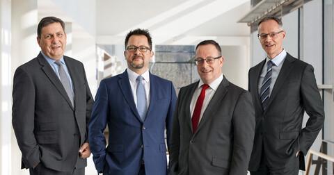 Der Vorstand der Köster Holding AG: Klaus Pacher (technischer Vorstand), Jens Kutzner (technischer Vorstand), Adolf Roesch (Vorsitzender des Vorstands), Carsten Knoth (kaufmännischer Vorstand) (v.l.n.r.)