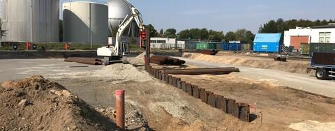 Arbeiten des Spezialtiefbaus an den Baugruben
