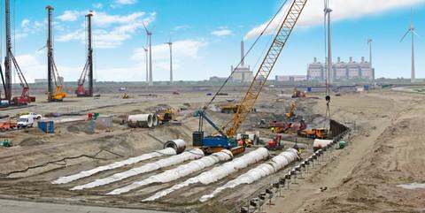 Steinkohle- und Biomasse-Kraftwerk Eemshaven, Groningen/NL: Erstellung der Hauptkühlwasserleitung und der kompletten Infrastruktur